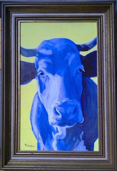 Galerie freiwerk, Acrylmalerei, Kuhblau, Milan art, Kuh, Stier
