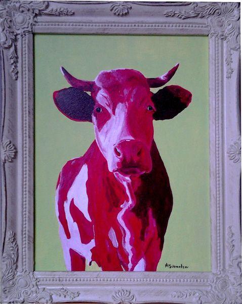 Milan art, Acrylmalerei, Kuh, Kuhrotgrün, Stier, Kuh bulle