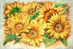 Sonnenblumen, Bilderrahmen, Malerei, Stillleben
