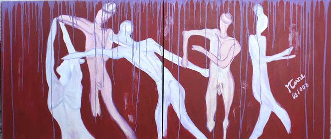 Acrylmalerei, Dynamik, Tanz, Diptychon, Plastik, Figural