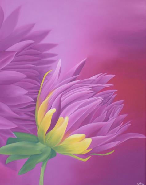 Stauden, Blumen, Ölmalerei, Blüte, Malerei, Dahlien