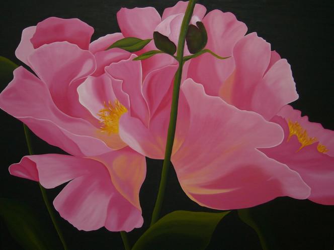 Blumen, Blüte, Stauden, Pfingstrose, Ölmalerei, Garten