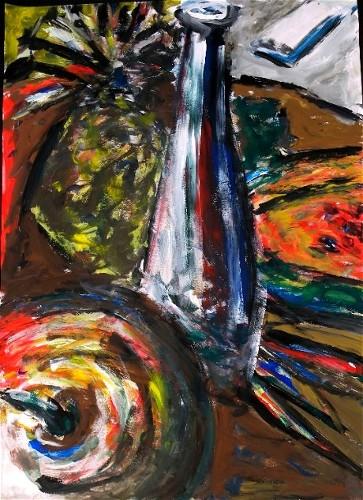 Stillleben, Acrylmalerei, Melone, Apfel, Flasche, Malerei