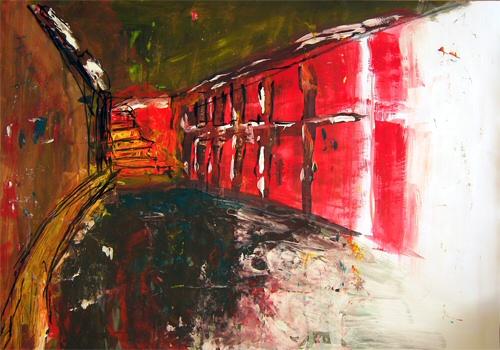 Acrylmalerei, Gang, Rot, Spaziergang, Skizze, Malerei
