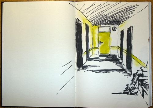 Raum, Warten, Grün, Zeichnung, Angst, Gang