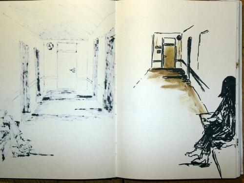 Tür, Braun, Raum, Gang, Zeichnung, Frau