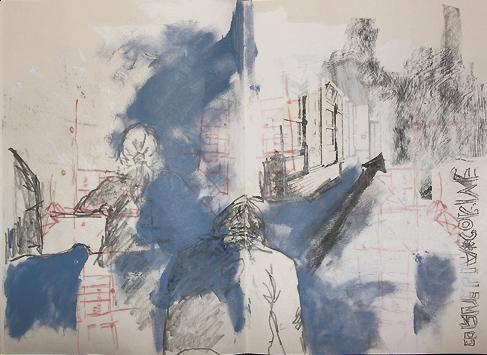 Menschen, Raum, Graffit, Fenster, Acrylmalerei, Buntstiftzeichnung