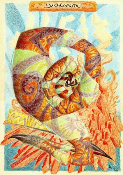 Buntstiftzeichnung, Fremdartig, Psychedelisch, Spirale, Scurril, Zeichnungen