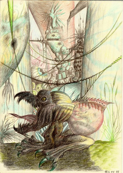 Baum, Tempel, Monster, Zeichnungen, Satt,