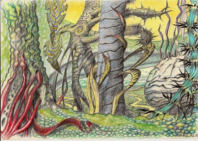Scurril, Alien, Buntstiftzeichnung, Psychedelisch, Landschaft, Zeichnungen