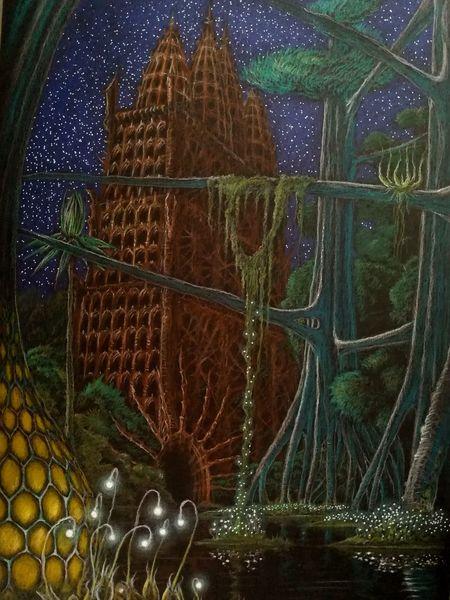 Wasser, Tempel, Pflanzen, Stern, Zeichnungen, Nächtliche