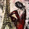 Paris, Frau, Eiffelturm, Blick
