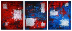 Malerei, Rot, Abstrakt, Silber