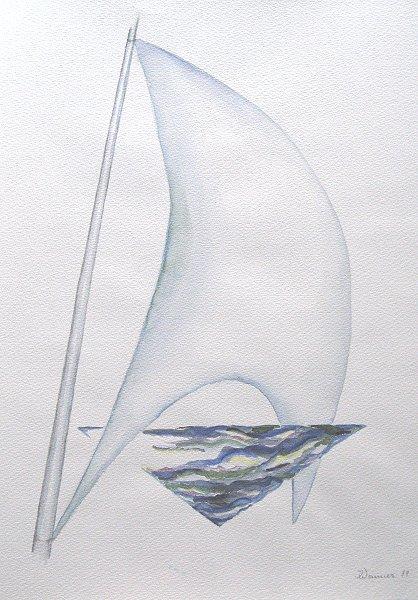 Natur, Meer, Wind, Aquarellmalerei, Malerei, Segel