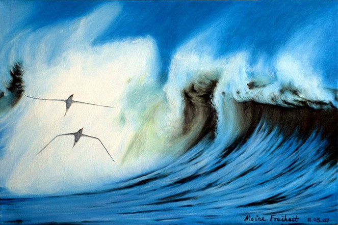 Malerei, Landschaft, Meer, Freiheit