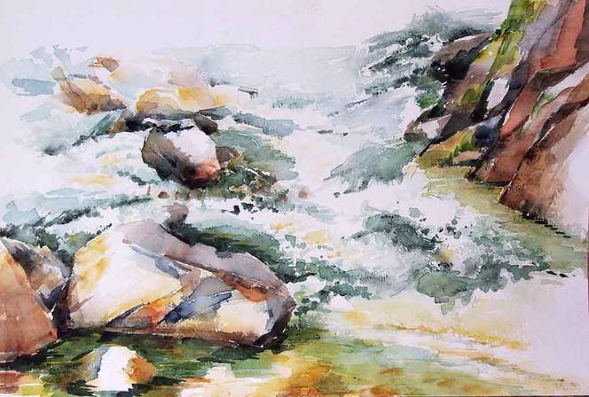 Fluss, Landschaft, Wildwasser, Malerei, Wasser,