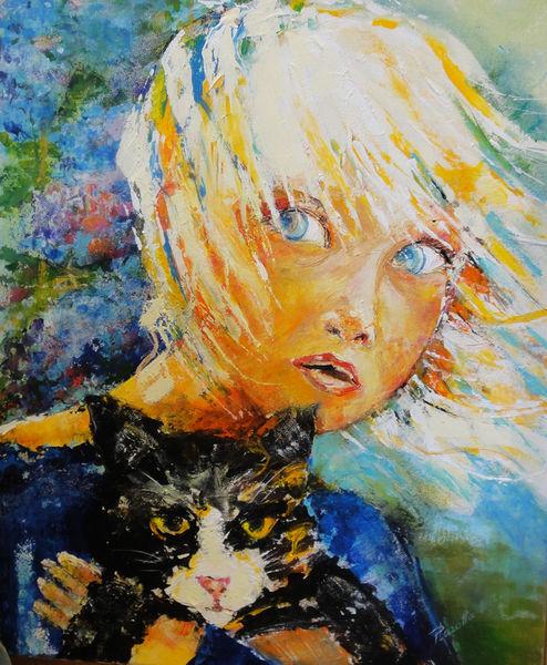 Mädchen, Katze, Malerei,