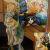 Skulptur, Mädchen, Katze, Italien