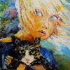 Katze, Mädchen, Malerei,