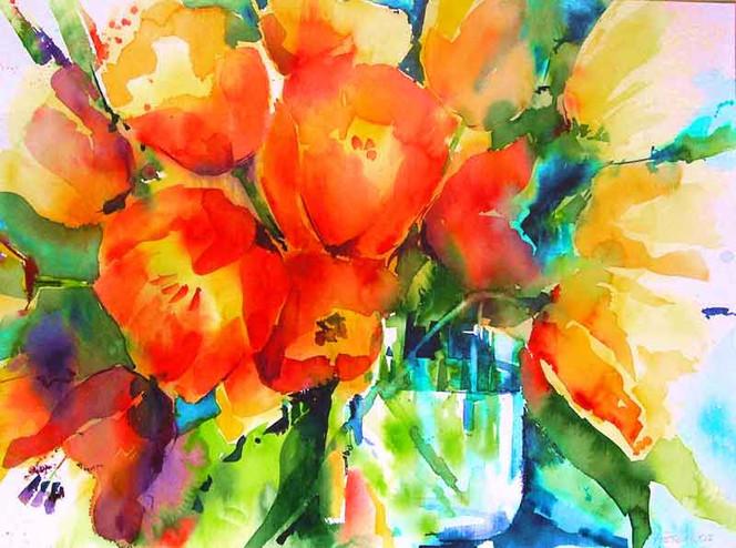 Blumen, Malerei, Aquarellmalerei, Tulpen, Pflanzen,