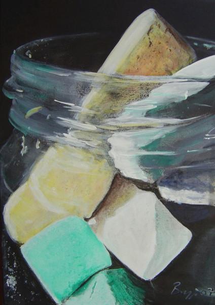 Glas, Gurkenglas, Kreide, Stillleben, Nahaufnahme, Strassenkreiden