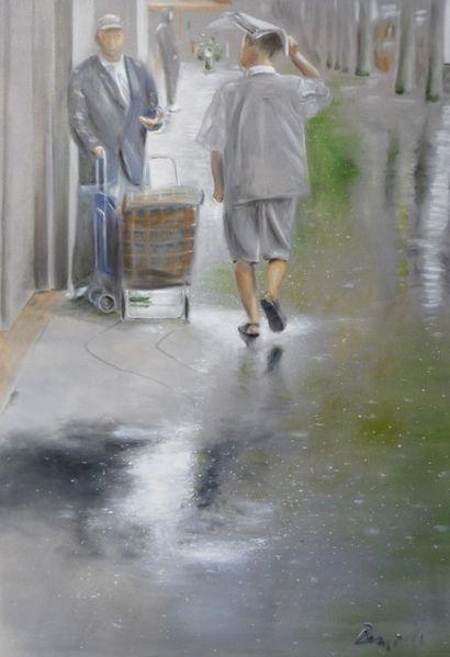 Regen, Chinatown, Grau, Grün, Spiegelung, Malerei