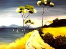 Malerei, See, Landschaft, Blau