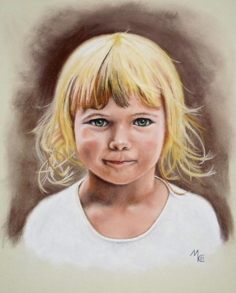Blond, Malerei, Figural, Portrait, Hübsch, Schön
