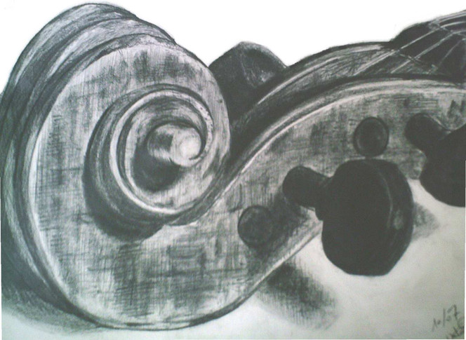 Geige, Violine, Zeichnung, Instrument, Bleistiftzeichnung, Stillleben