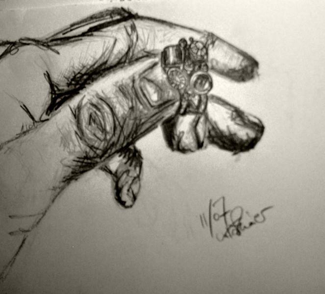 Skizze, Zeichnung, Kohlezeichnung, Bleistiftzeichnung, Hand, Ring