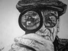 Lupe, Zeichnung, Portrait, Alter mann