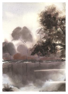 Landschaft, Farben, Malerei, Gemälde, Landschaftsmalerei, Aquarellmalerei