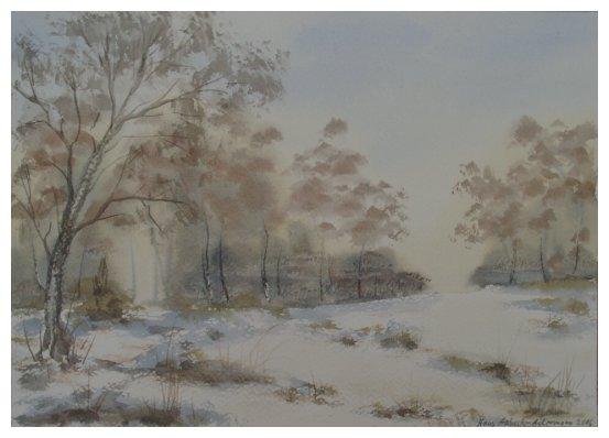 Winterlandschaft, Landschaft, Aquarellmalerei, Freiluft, Landschaftsmalerei, Malerei