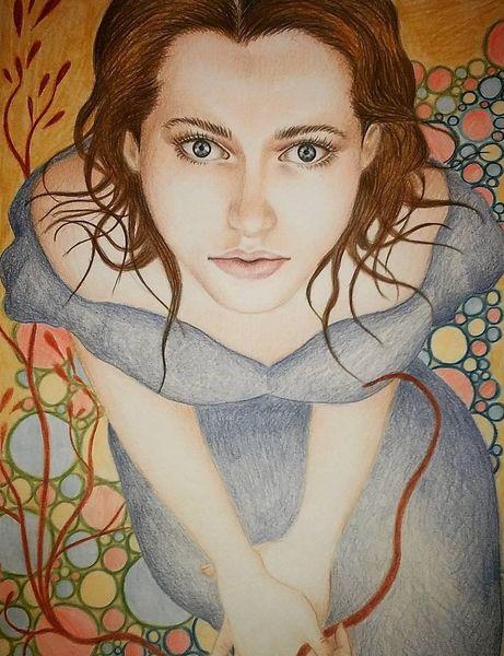 Polychromos, Surreal, Zeichnung, Portrait, Realismus, Frau
