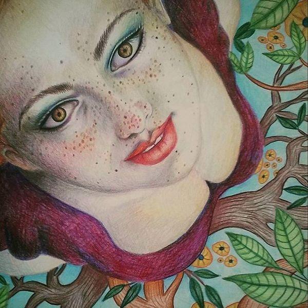 Surreal, Zeichnung, Kunstwerk, Frau, Perspektive, Polychromos