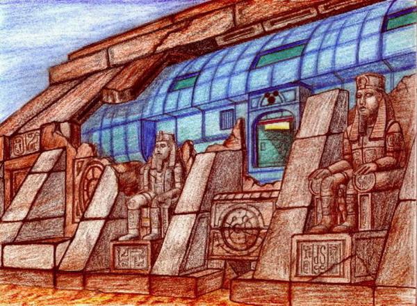 Antik, Ägypten, Mystik, Fantasie, Zeichnung, Raumschiff
