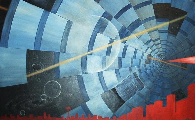 Tunnel, Perspektive, Raum, Malerei, Zeit, Surreal