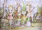 Elfen, Fantasie, Zeichnung, Skizze