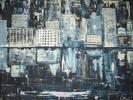 Panorama, Stadt, Malerei, Abstrakt