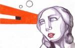 Polychromos, Bleistiftzeichnung, Sehnsucht, Orange