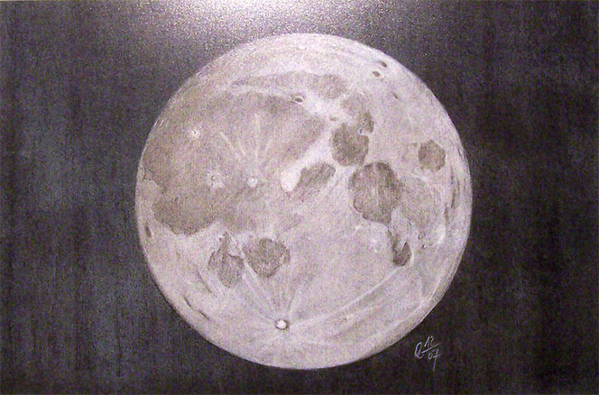 Pastellmalerei, Mond, Nacht, Zeichnungen, Vollmond