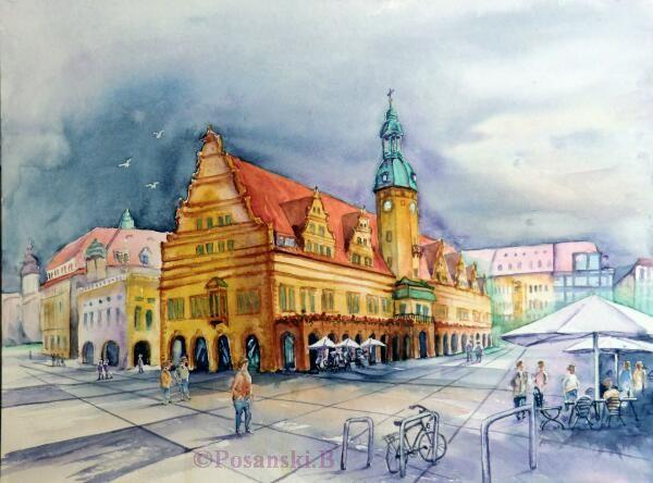 Rathaus, Altes rathaus, Haus, Architektur, Leipzig, Aquarellmalerei