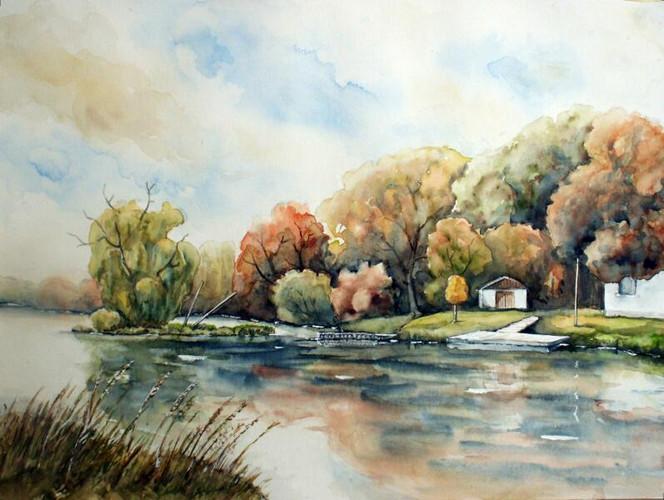Fluss, Mulde, Aquarellmalerei, Landschaft, Aquarell, Aquarelle landschaften