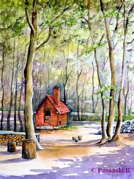 Mühle, Backhaus, Aquarell,
