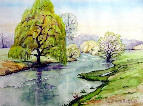 Fluss, Elster, Frühling, Weiße elster, Aquarell, Flusslandschaft