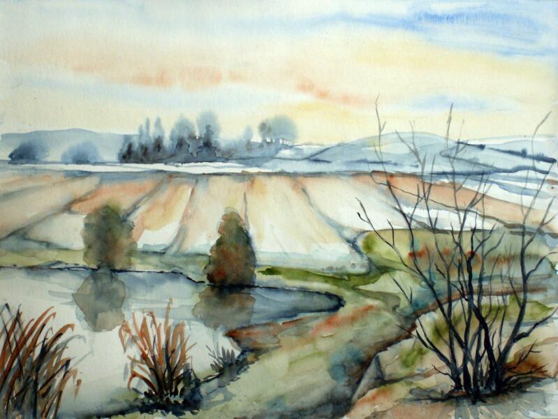 landschaft  landschaft aquarellmalerei aquarell