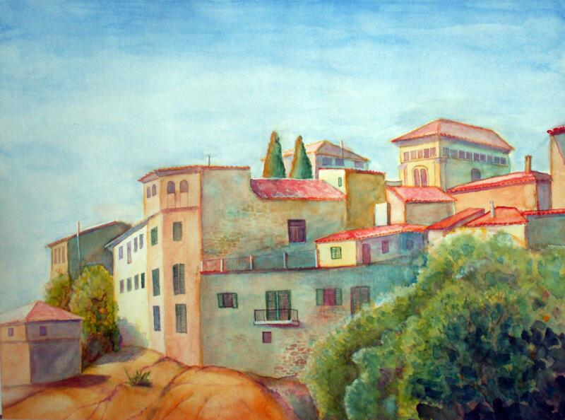 Bild valdemossa mallorca stadt aquarellmalerei von for Architektur aquarell