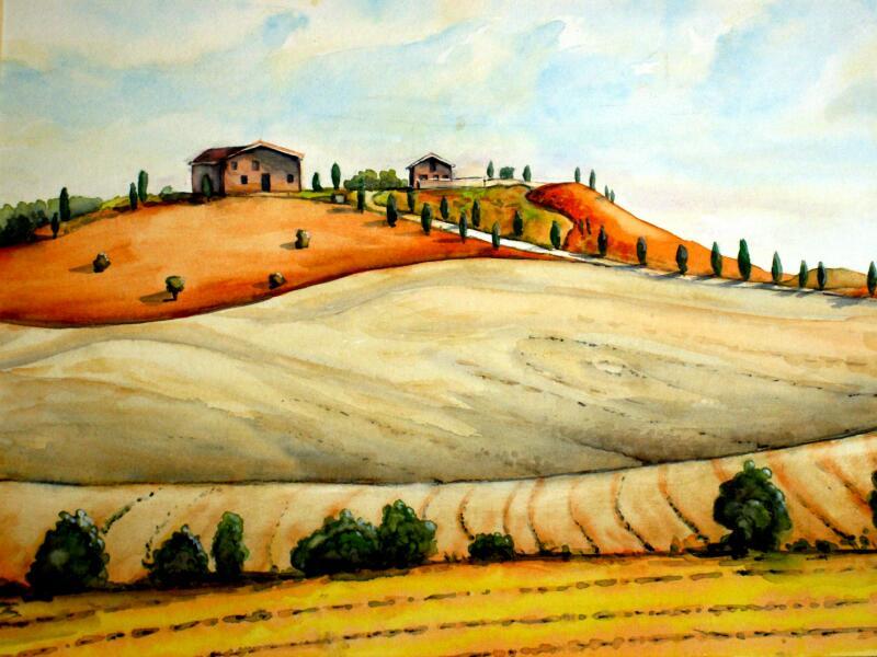toskana i  aquarellmalerei landschaft toskana aquarell