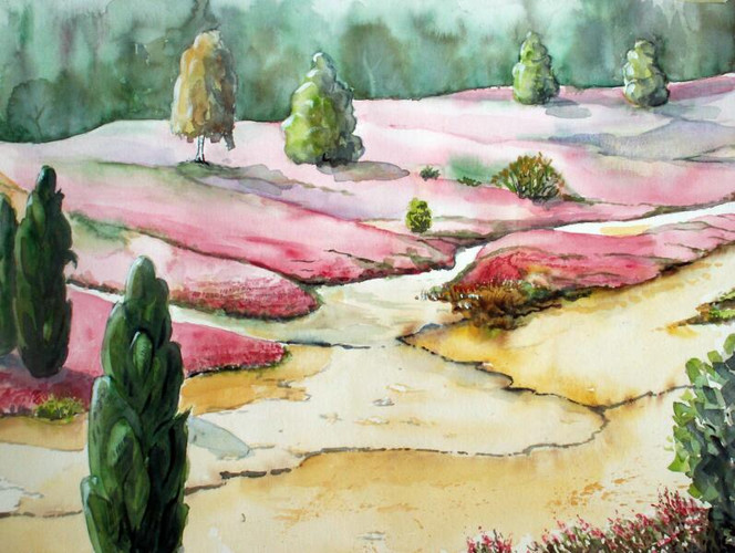 Aquarellmalerei, Landschaft, Heide, Aquarell