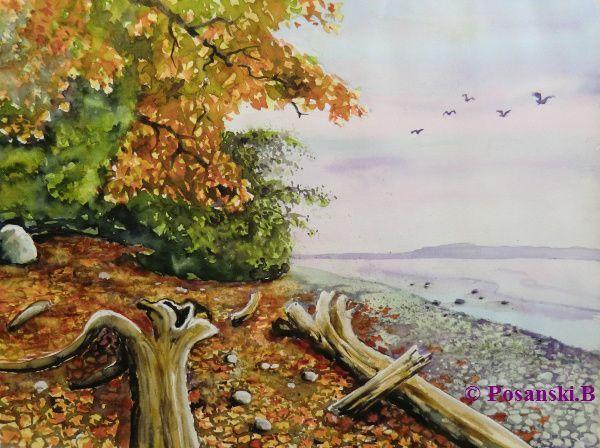 Ostsee, Strand, Herbst, Aquarell